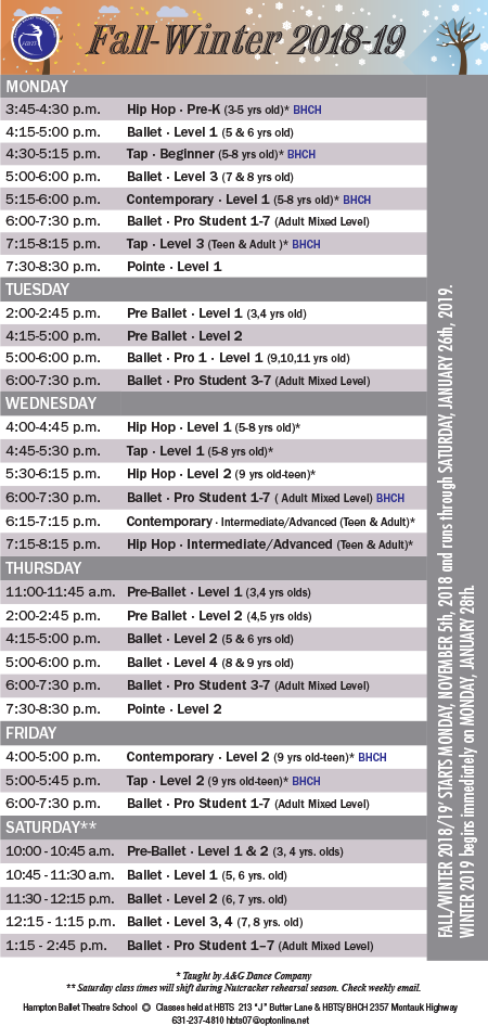 Hampton Ballet Theatre School 2019 Schedule