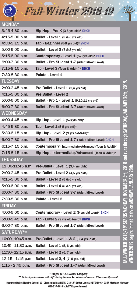 Hampton Ballet Theatre School Schedule